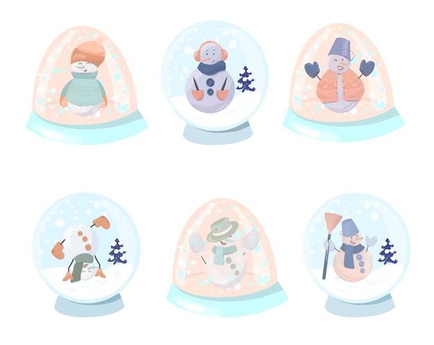 Kolekcja świątecznych słodkich i zabawnych bałwanów w śnieżnych szklanych globusach