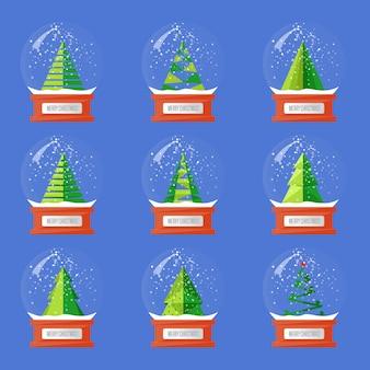 Kolekcja świątecznych szklanych kul śnieżnych