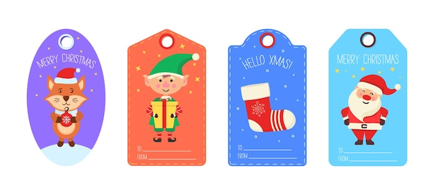 Kolekcja świątecznych tagów słodkie