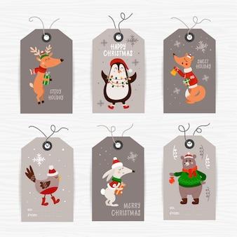Kolekcja świątecznych tagów ze zwierzętami i życzeniami świątecznymi. szablony kart do druku.