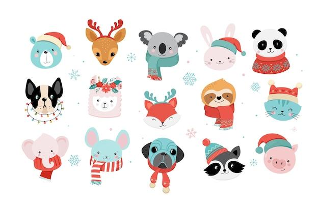 Kolekcja świątecznych uroczych zwierzątek, wesołych świąt bożego narodzenia ilustracje pandy