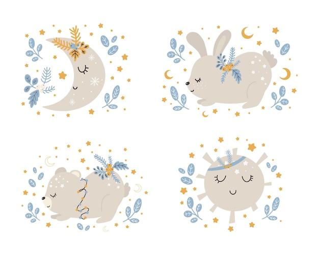 Kolekcja świątecznych uroczych zwierzątek, wesołych świątecznych ilustracji niedźwiedzia, królika z zimowymi akcesoriami. skandynawski styl na białym tle.