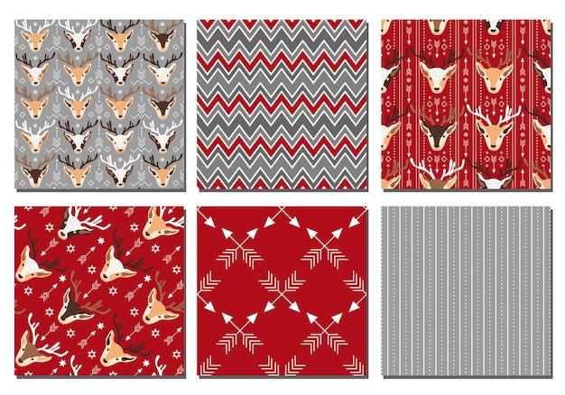 Kolekcja świątecznych wzorów świątecznych. ilustracja wektorowa.