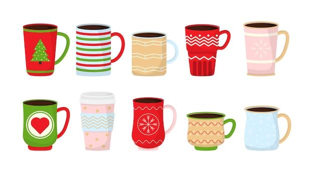 Kolekcja świątecznych zabawnych kubków. świąteczne kubki z gorącym napojem. zimowa kawa i herbata. idealne na kartki okolicznościowe, zaproszenia na imprezy, plakaty, naklejki, przypinki, scrapbooking, ikony. ilustracja.