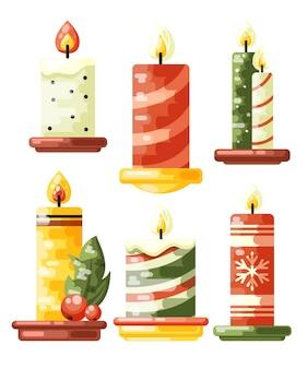 Kolekcja świec świątecznych w płaskiej konstrukcji