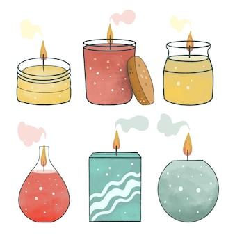 Kolekcja świec zapachowych płaska ilustracja