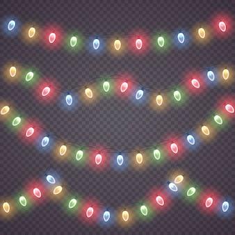Kolekcja świecących świateł na święta bożego narodzenia