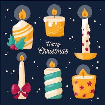 Kolekcja świeczek świątecznych płaska konstrukcja