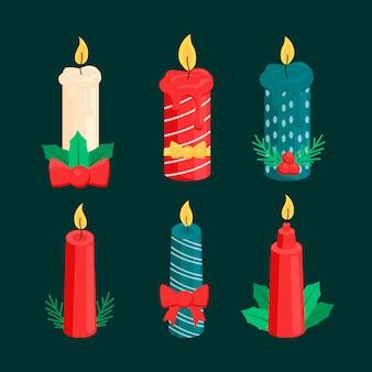 Kolekcja świeczek świątecznych w płaskiej konstrukcji