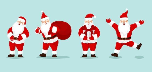 Kolekcja świętego mikołaja z prezentem, worek z prezentami, macha i pozdrowienia. na kartki świąteczne, banery, metki i etykiety.
