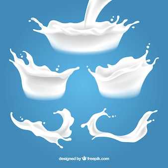 Kolekcja świeżego mleka odpryskami w realistycznym stylu