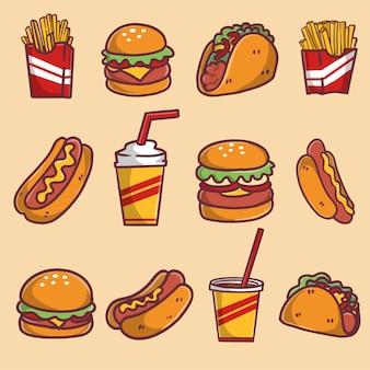 Kolekcja świeżych ilustracji fast food