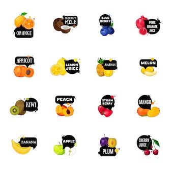 Kolekcja świeżych owoców etykiety wielokątne ikony