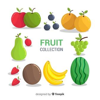 Kolekcja świeżych owoców o płaskiej konstrukcji