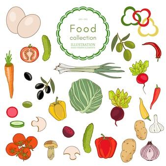 Kolekcja świeżych warzyw
