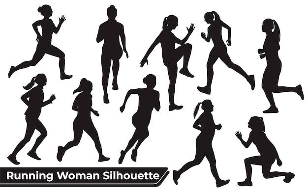 Kolekcja sylwetek biegnącej kobiety w różnych pozach