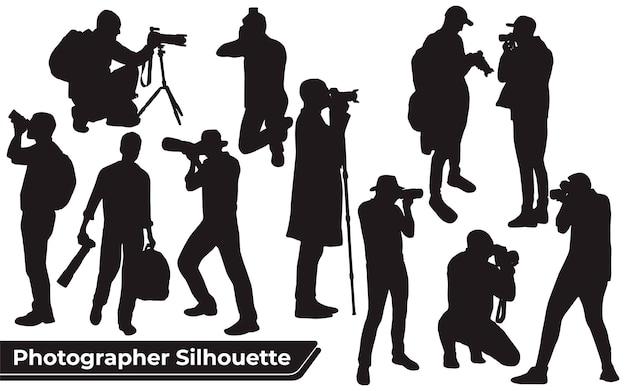 Kolekcja sylwetek fotografa w różnych pozach