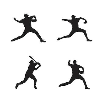 Kolekcja sylwetek graczy w baseball