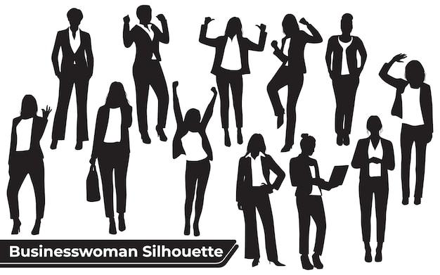 Kolekcja sylwetek kobiety biznesu w różnych pozach