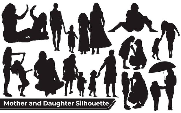 Kolekcja sylwetek mamy i córki w różnych pozach