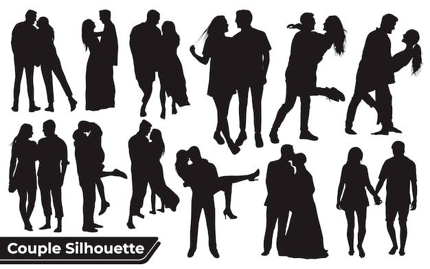 Kolekcja sylwetek tańca ślubnego w różnych pozach