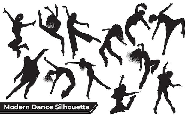 Kolekcja sylwetek tańca współczesnego kobiety w różnych pozach