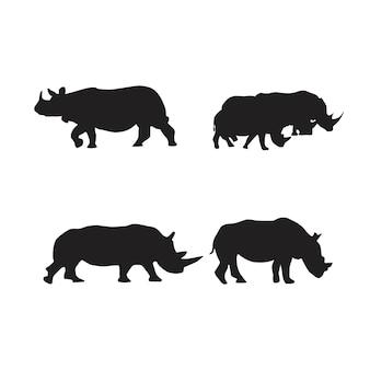 Kolekcja sylwetek zwierząt nosorożca