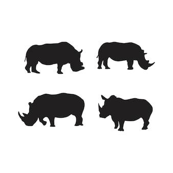 Kolekcja Sylwetek Zwierząt Nosorożca Premium Wektorów