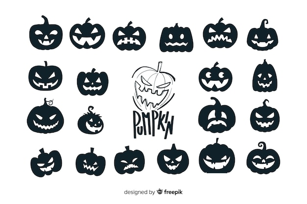 Kolekcja sylwetka dyni halloween