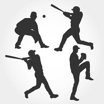 Kolekcja sylwetka gracza baseballu