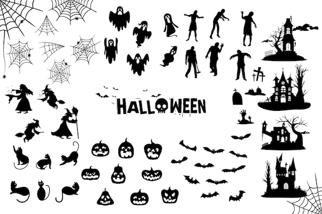 Kolekcja sylwetka halloween