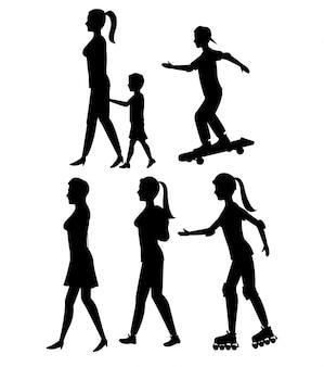 Kolekcja sylwetka osoba chodzić i rolki skate