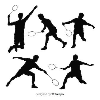 Kolekcja sylwetka płaski badminton gracza