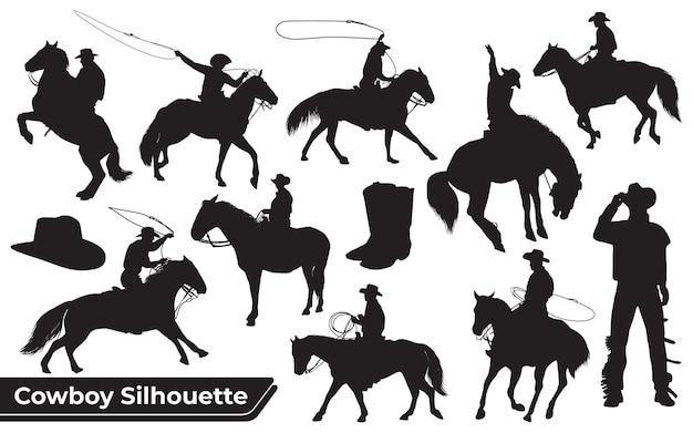Kolekcja sylwetki kowboja lub jeźdźca na koniu