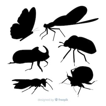 Kolekcja sylwetki owadów płaskie