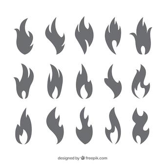 Kolekcja sylwetki płomieniach