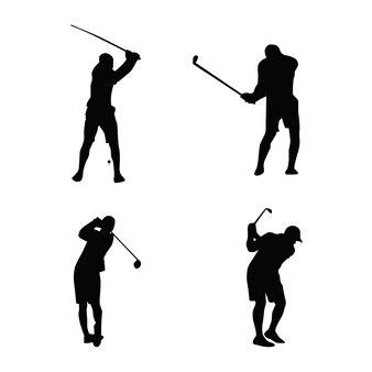 Kolekcja sylwetki sportowców golfowych