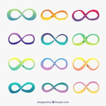 Kolekcja symbol nieskończoności z kolorami