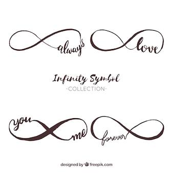 Kolekcja symbol nieskończoności ze słowem