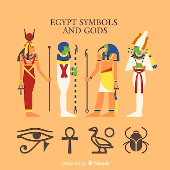 Kolekcja symboli i bogów egiptu