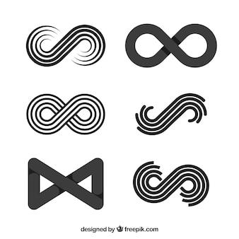 Kolekcja symboli nieskończoności w kolorze czarnym