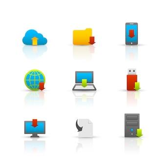 Kolekcja symboli pobierania internetu dla komputerów przenośnych i urządzeń elektronicznych błyszczący piktogramów zestaw ilustracji wektorowych odizolowane