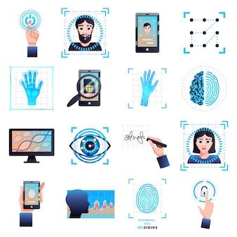 Kolekcja symboli technologii identyfikacji z biometrycznym rozpoznawaniem twarzy tęczówki oka