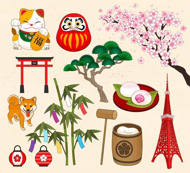 Kolekcja symboli tradycyjnej kultury japońskiej w stylu ukiyo-e