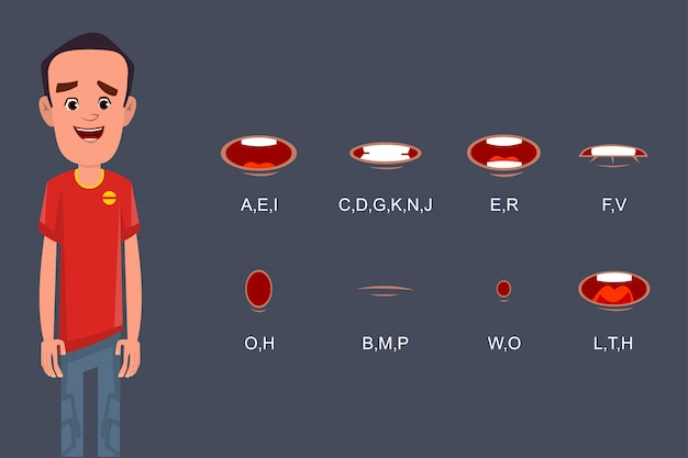 Kolekcja synchronizacji ust dla animacji lub ruchu postaci z kreskówek