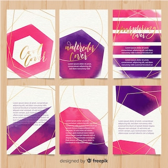 Kolekcja szablon broszura akwarela