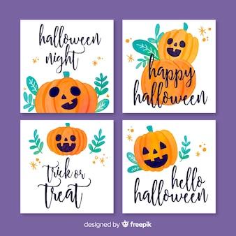 Kolekcja szablon karty akwarela halloween