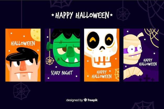 Kolekcja szablon karty płaskie halloween