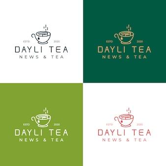Kolekcja szablon logo dayli tea. logo z koncepcją mieszanki gazety i herbaty