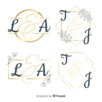 Kolekcja szablon logo monogram ślubu